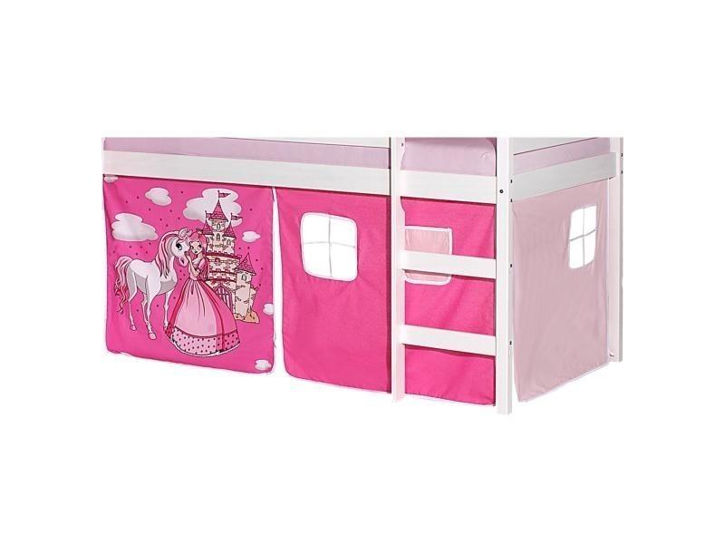lot de rideaux cabane pour lit sur lev superpos mi hauteur mezzanine tissu coton motif. Black Bedroom Furniture Sets. Home Design Ideas
