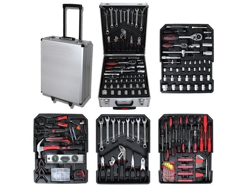 Malette à outils, valise de bricolage, 251 outils, avec mallette en aluminium et poignée télescopique, matériau: acier au carbone 3700778709491