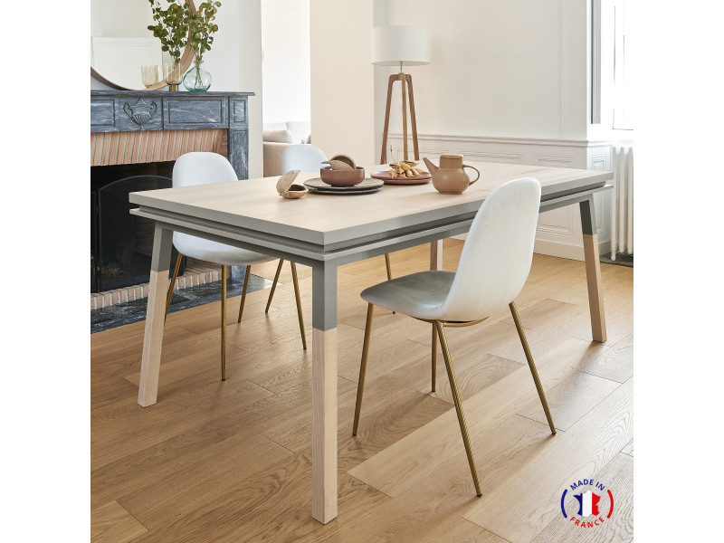 Table extensible bois massif 180x100 cm gris muscade - 100% fabrication française