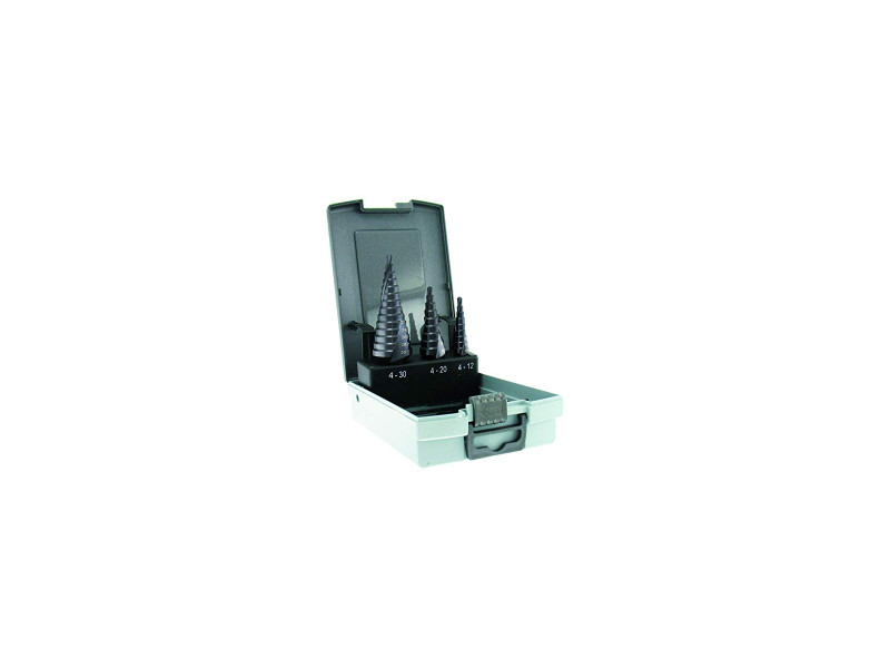 Forets métaux coniques x 3 étagés hss cobalt tivoly 5% revêtu tialn 4-12 / 4-20 / 4-30 mm coffret de 3 pièces