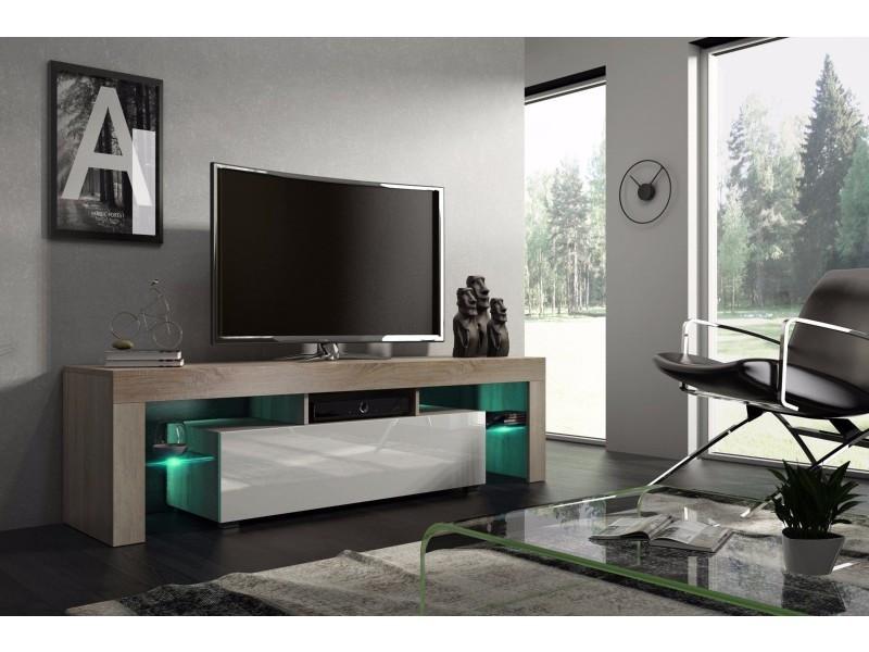 Meuble tv 160 cm chêne mdf et blanc laqué avec led rgb