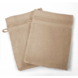 Lot de 2 gants de toilette 15 x 21 cm taupe