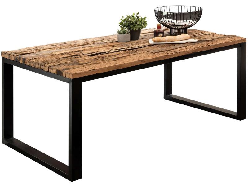Table de salle manger en bois massif structure en m tal - Table salle a manger acier ...