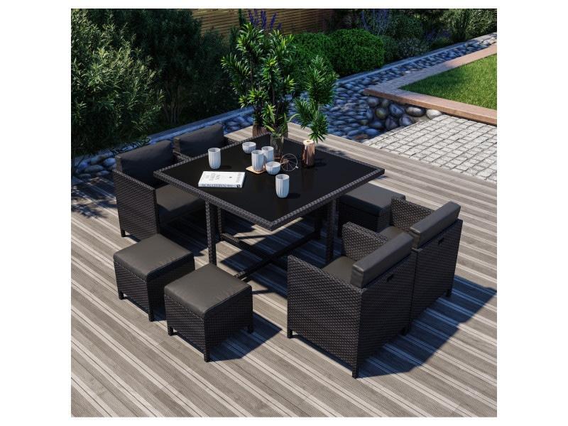 8 places - ensemble encastrable salon / table de jardin résine tressée - noir - munga 8