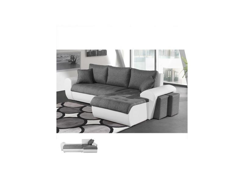 Canapé d'angle à droite convertible gris et pvc blanc lizon