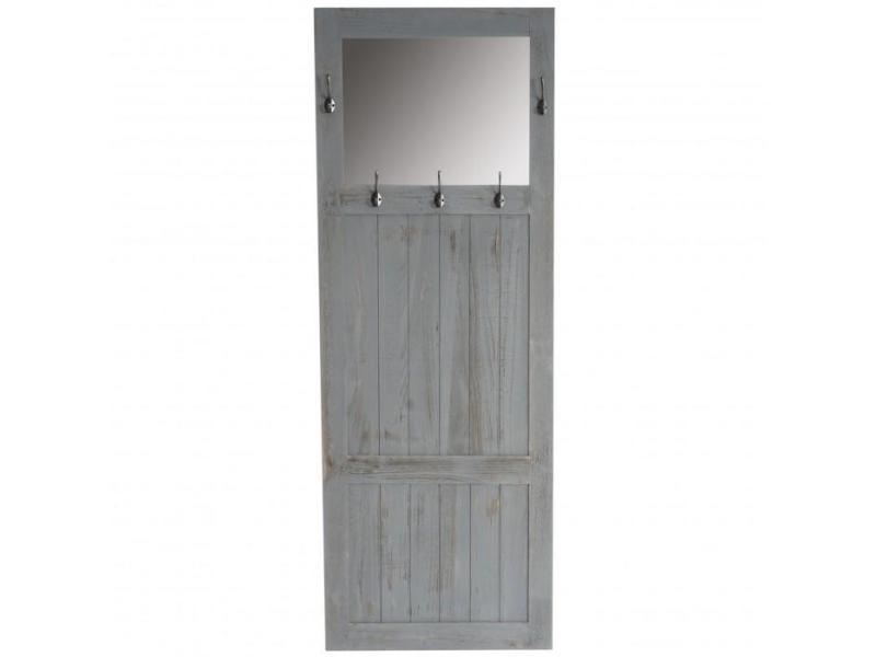 Porte-manteau Meuble Du0027entrée Avec Miroir 180x65x7cm Gris Vintage Med04037  - Conforama