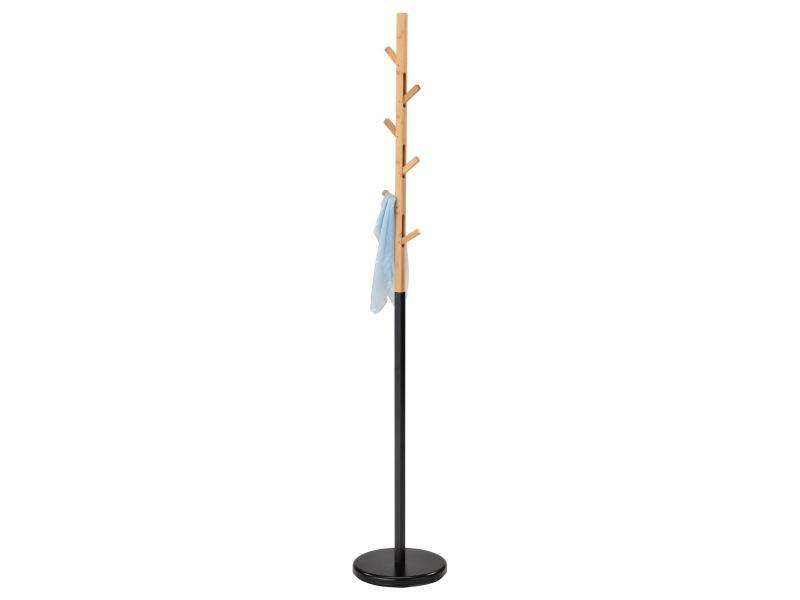 Porte-manteaux avignon portant à vêtements sur pied en forme d'arbre avec 6 crochets rétractables, en métal laqué noir et bambou