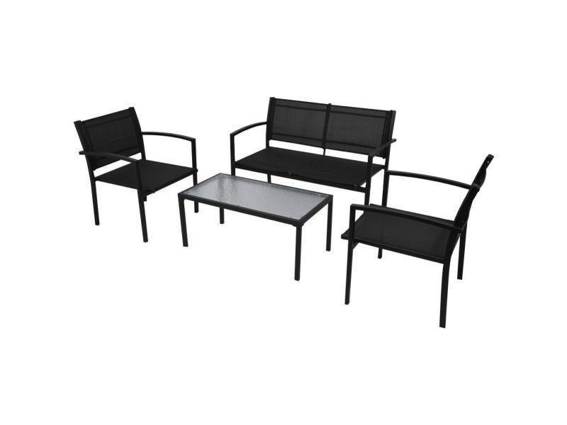 Vidaxl jeu de mobilier jardin 4 pièces avec banc noir 42162 ...
