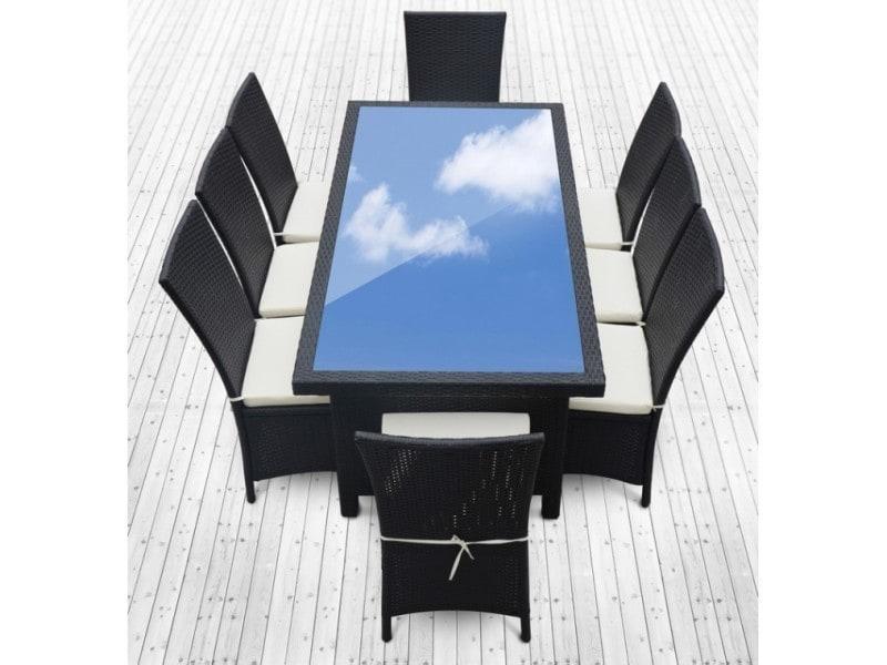 Magnifique salon de jardin vitoria 8: table + 8 fauteuils en resine ...