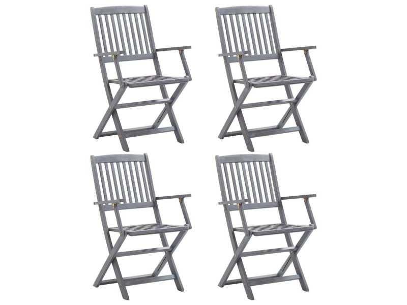 Magnifique sièges de jardin gamme ngerulmud chaises pliables d'extérieur 4 pcs bois d'acacia solide