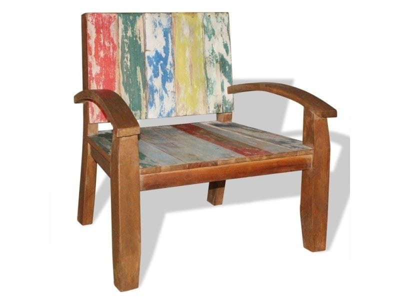 Vidaxl fauteuil bois massif de récupération 70 x 60 75 cm 243027 ...