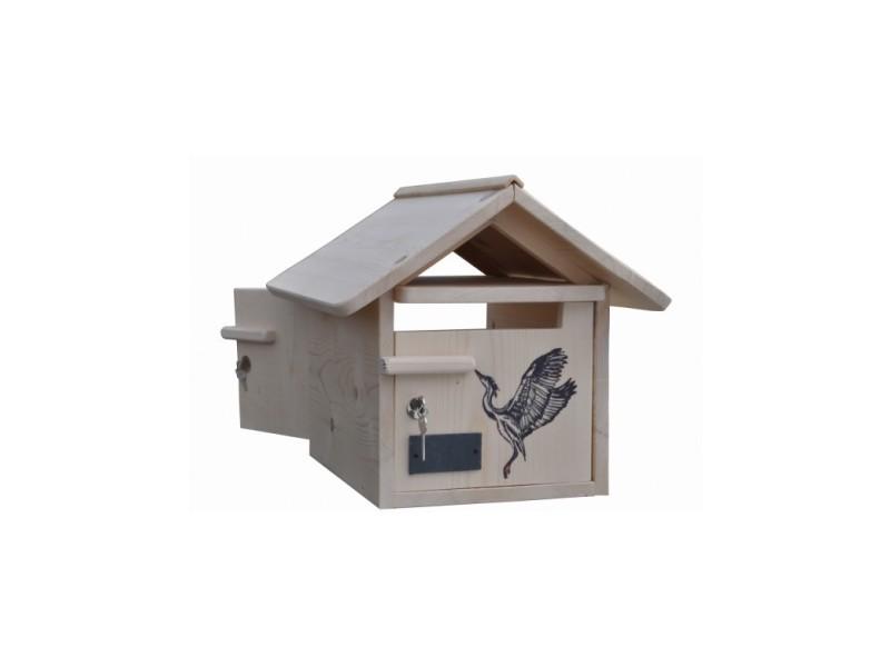 Boite aux lettres bois creastuce : heron 2 portes