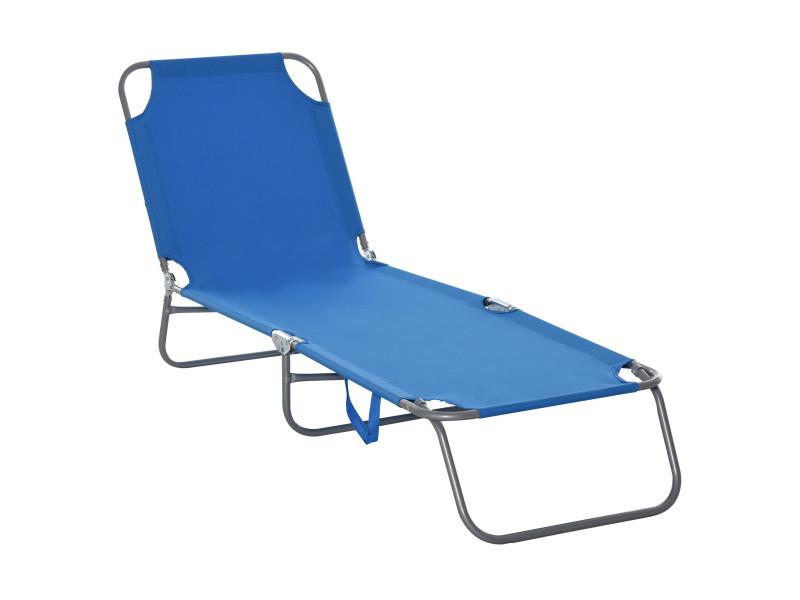 Bain de soleil transat pliable dossier réglable multipositions métal et polyester bleu