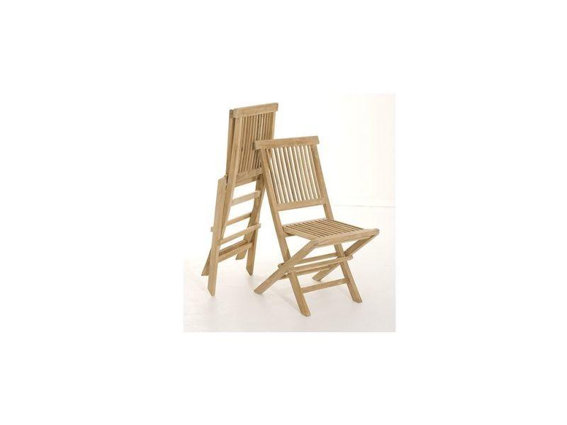 Ensemble table de jardin et 6 chaises en teck borneo - Vente ...
