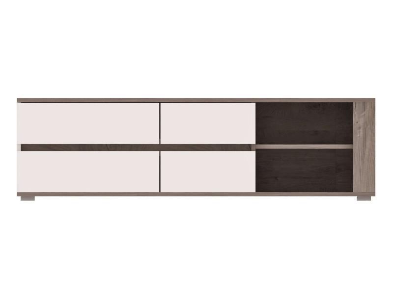 Ares - meuble tv design contemporain salon/séjour - 150x45x43 cm - meuble télévision avec rangements - aspect bois + gloss - chêne/blanc