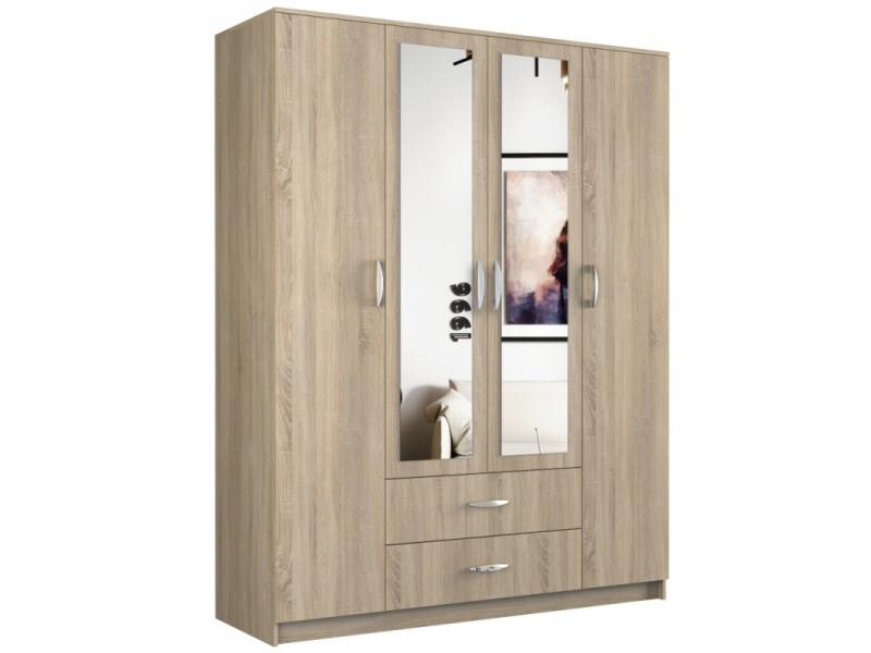 Roma - grande armoire chambre bureau 205x160x52 cm - penderie - 2 portes - 2 miroirs - 2 tiroirs - meuble de rangement - sonoma