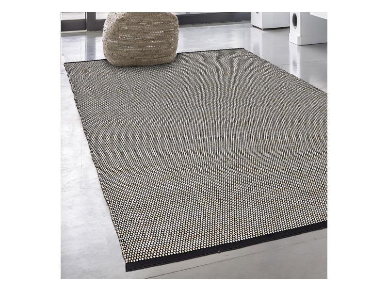 Tapis kilim 80x150 cm rectangulaire km champi beige chambre tissé à la main coton