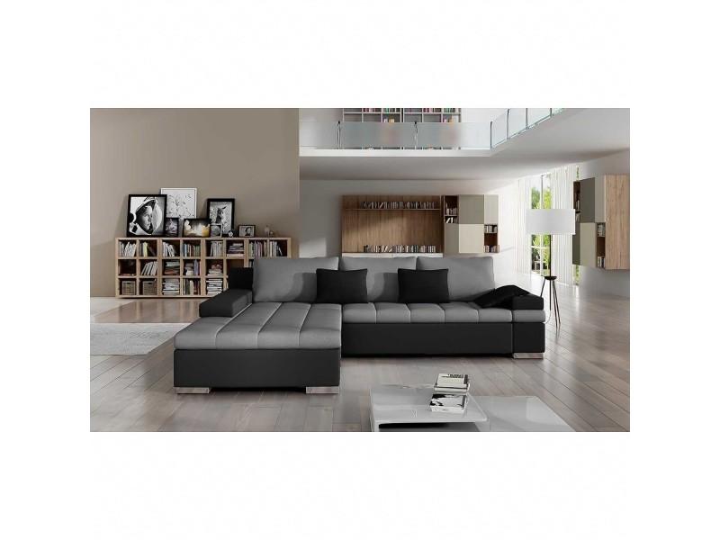 Rosy - canapé d'angle convertible gris et noir - angle gauche