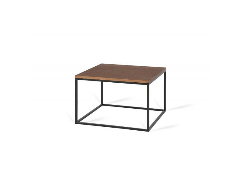 Table basse carrée industrielle 40 cm helisa i / coloris : chêne foncé