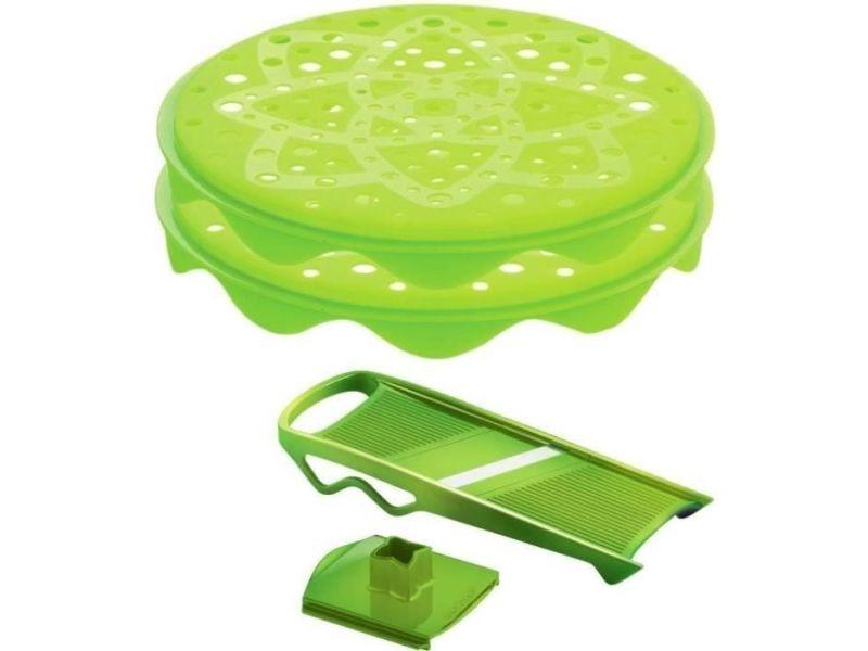 Mastrad f64708 topchips - lot de 2 + mandoline - vert