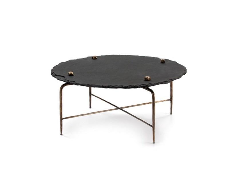 Table basse design pierre et métal edge