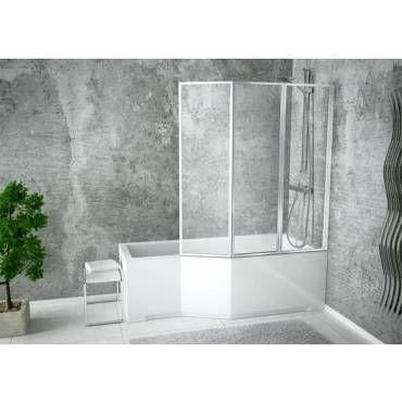 baignoire asym trique integra 150 170 cm x 75 cm avec pare. Black Bedroom Furniture Sets. Home Design Ideas