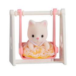 Sylvanian valisette bebe chat sur balancoire