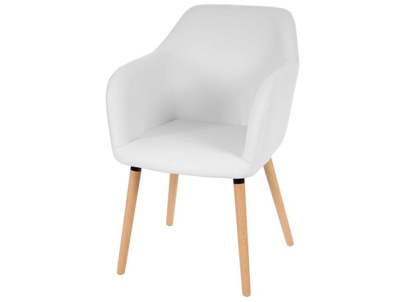 Chaise de séjour / salle à manger malmö t381 style rétro des années 50 ~ similicuir, blanc
