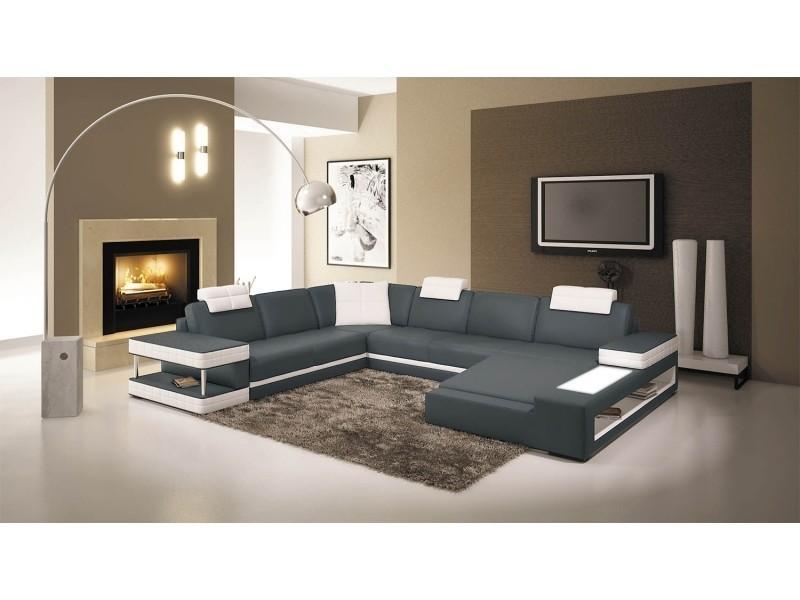 Canapé d'angle panoramique en cuir gris et blanc marcus (angle droit)-