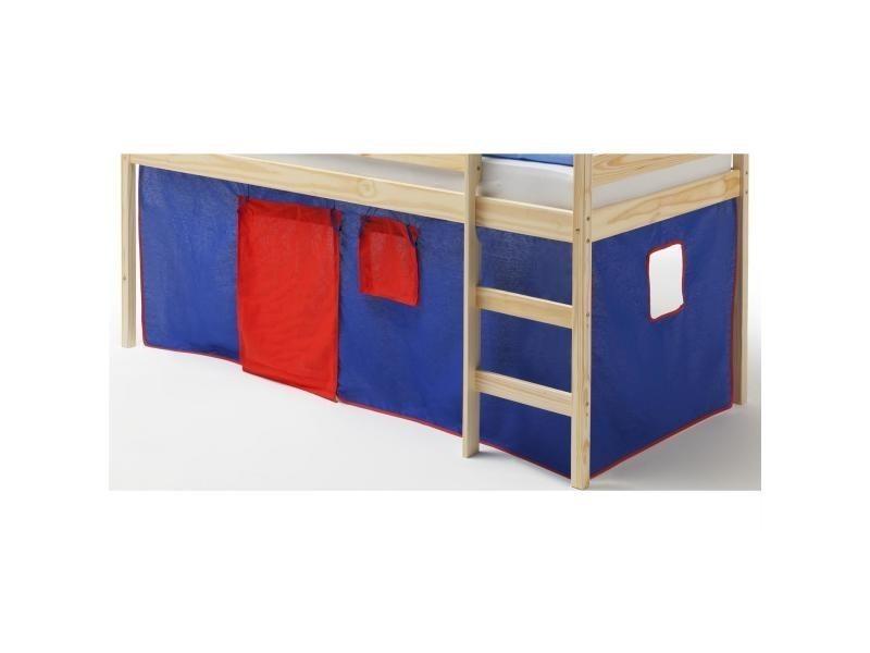 Rideaux pour lit superpos ou lit sur lev coton bleu et rouge vente de lit enfant conforama - Rideaux pour lit sureleve ...