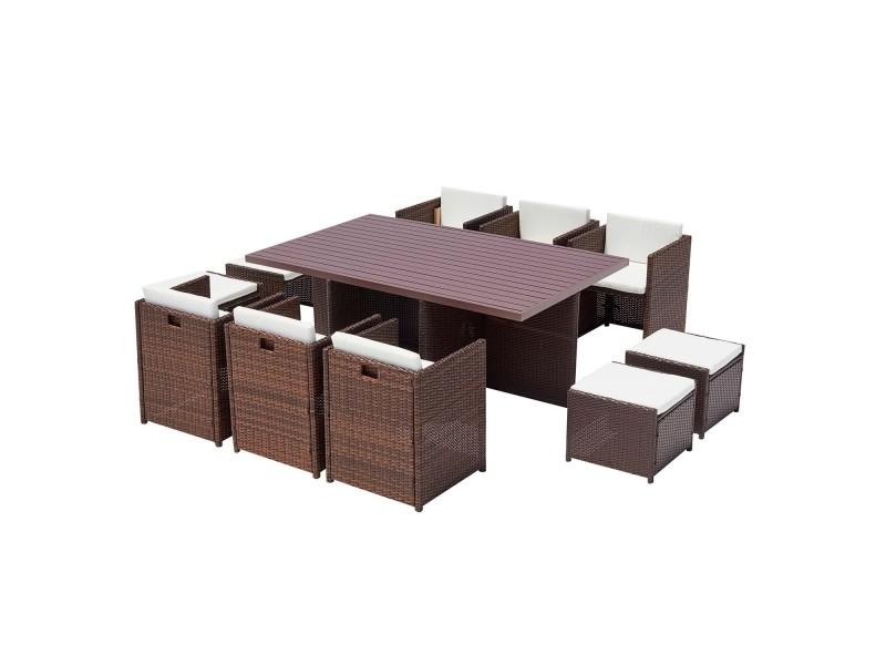 Le kaolino : salon de jardin encastrable 10 places en résine tressée et aluminium marron coussins blancs 222305