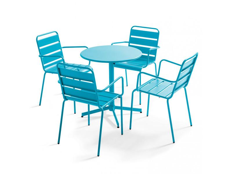 Table de jardin bistrot rabattable ⌀70cm et 4 fauteuils en métal palavas 4 places acier bleu