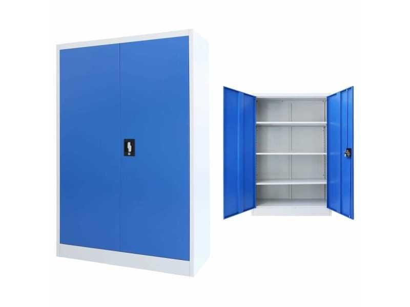 Joli armoires et meubles de rangement selection lilongwe armoire de bureau métal 90 x 40 x 140 cm gris et bleu