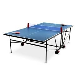 Table de ping pong indoor bleue, avec 2 raquettes et 3 balles, pour utilisation