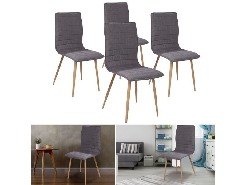 chaises x4 polga capitonn es tissu gris pour salle manger vente de id market conforama. Black Bedroom Furniture Sets. Home Design Ideas