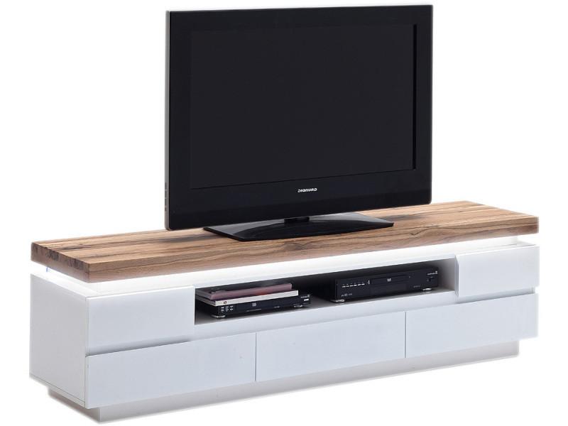 Meuble Tv Design Blanc Et Marron Avec 5 Tiroirs En Mdf Et