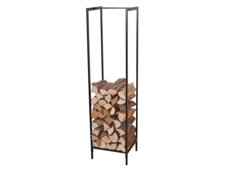 Range-bûches / étagère pour bois en métal noir 140 cm dec05054