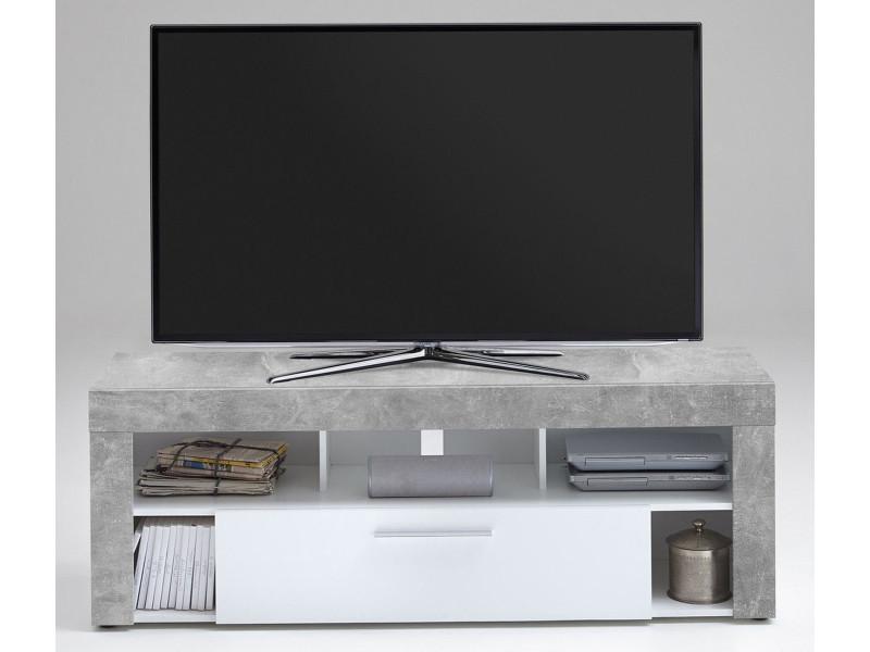 Meuble tv en mdf et panneaux de particules coloris light atelier/blanc- dim : l 150 x h 53 x p 41,5 cm - pegane -