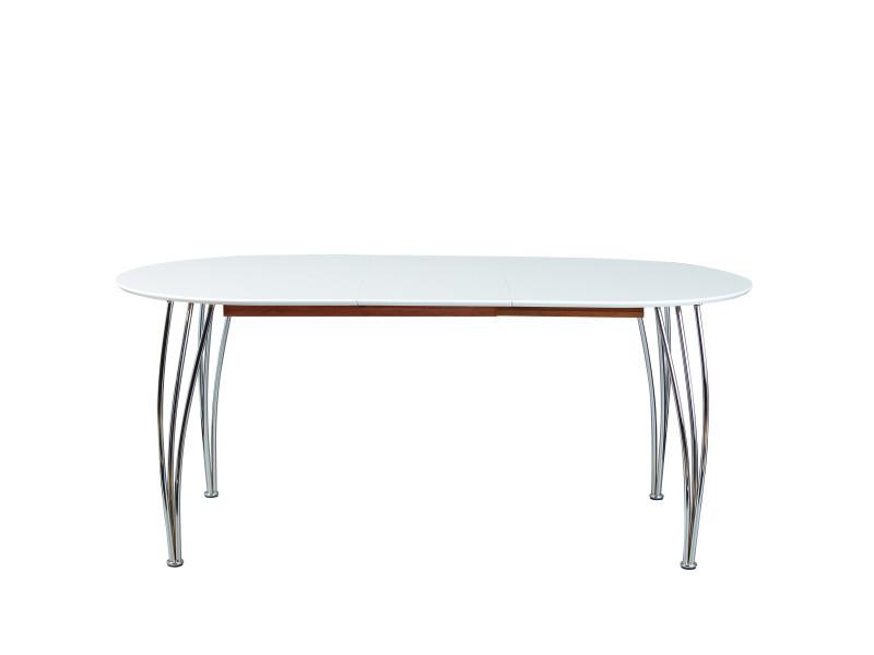 Table à manger extensible ovali blanc laqué mat Pieds métal