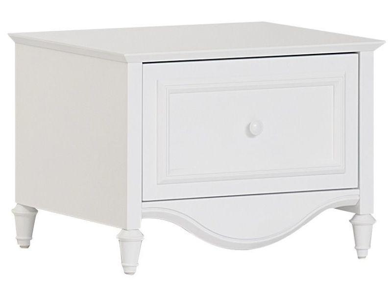 Table De Chevet Romantique 56 Cm Avec 1 Tiroir Coloris Blanc P 17134