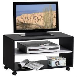 Meuble tv sur roulettes atlanta mdf noir blanc