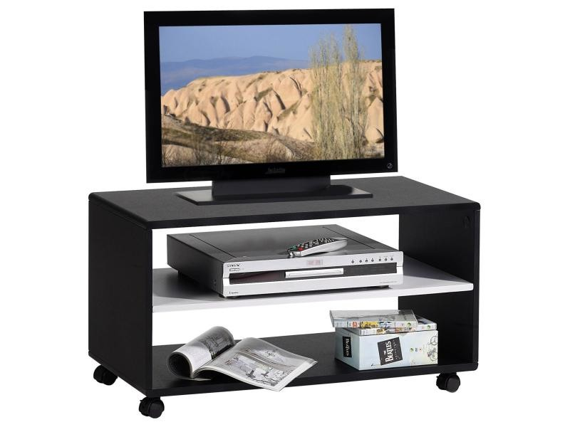 meuble tv sur roulettes atlanta mdf noir blanc conforama. Black Bedroom Furniture Sets. Home Design Ideas