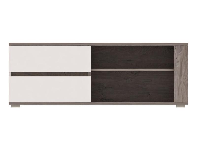 Ares - meuble tv design contemporain salon/séjour - 110x45x43 cm - meuble télévision avec rangements - aspect bois + gloss - chêne/blanc