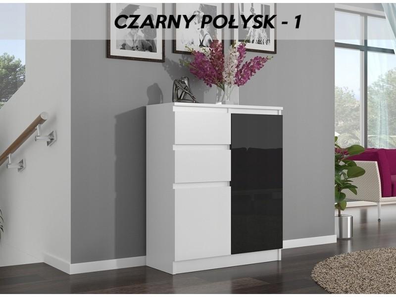 Lisbon w1 | commode contemporaine chambre/salon/bureau | 98x80x40cm | rangement 2 tiroirs/2 portes | buffet style moderne | blanc/noir laqué