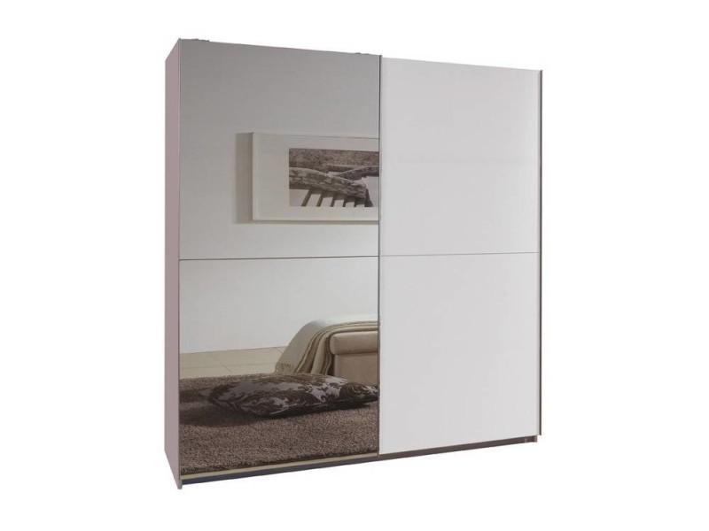 Dressing à portes coulissantes clapton 135cm coloris blanc avec 1 miroir 20100867068