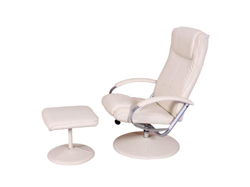 Fauteuil de relaxation n44, avec pouf, pivotant, simili-cuir, blanc