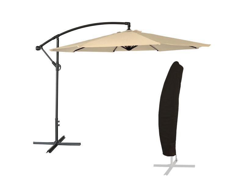 Parasol déporté oahu rond 3m de diamètre beige + housse