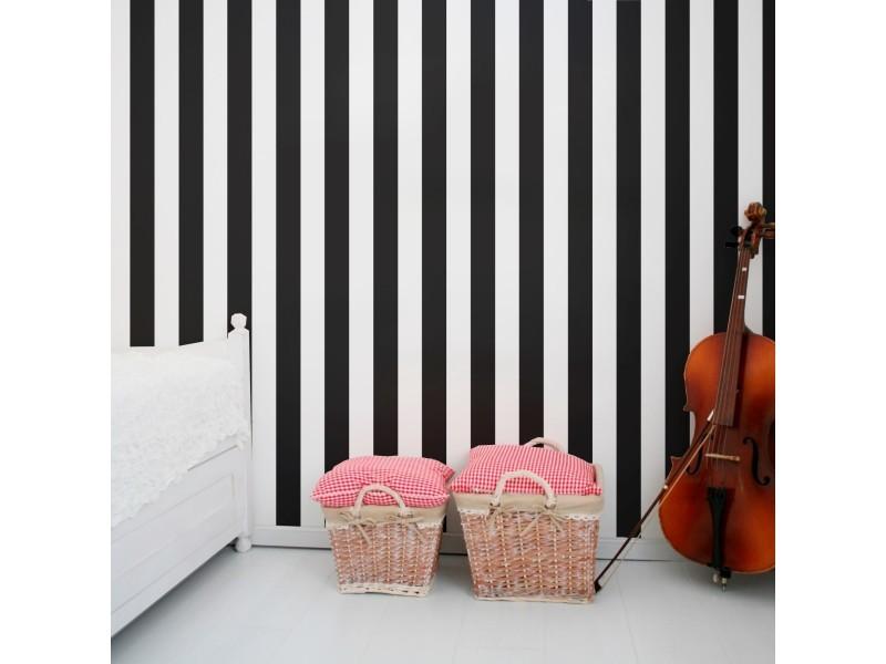 Papier peint intissé monochrome rayures gravure 1005 x 52cm noir, blanc 100099