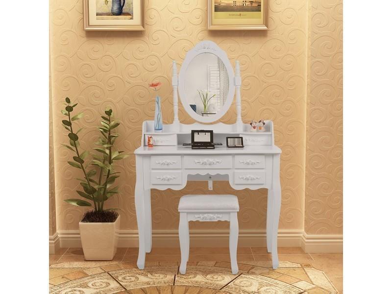 superbe coiffeuse blanche avec tabouret 7 tiroirs et miroir pivotant neuf sgrdt10w vente de. Black Bedroom Furniture Sets. Home Design Ideas