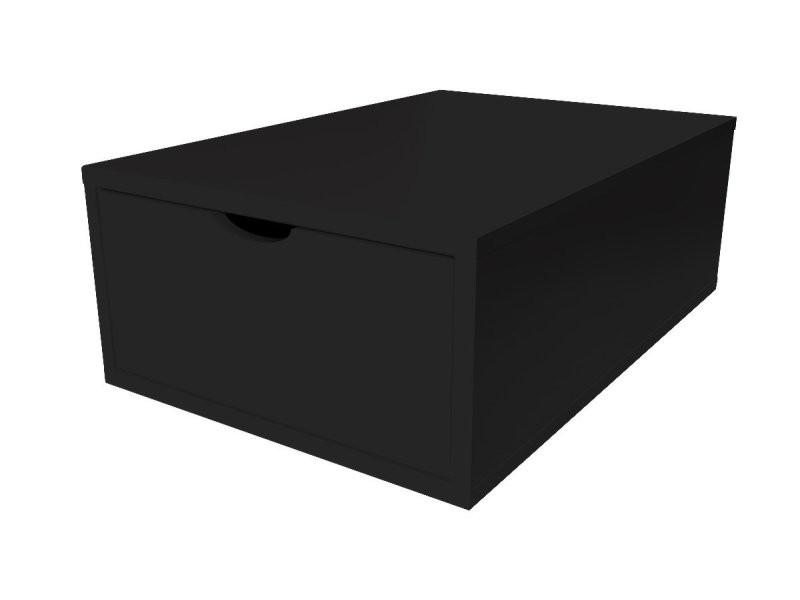 Cube de rangement bois 75x50 cm + tiroir noir CUBE75T-N